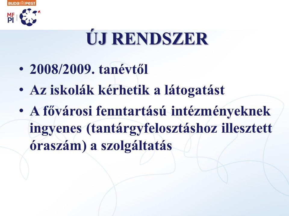 ÚJ RENDSZER 2008/2009. tanévtől Az iskolák kérhetik a látogatást