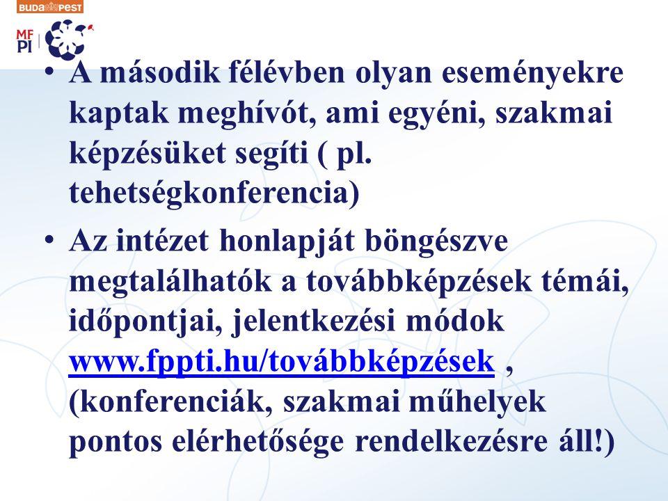 A második félévben olyan eseményekre kaptak meghívót, ami egyéni, szakmai képzésüket segíti ( pl. tehetségkonferencia)