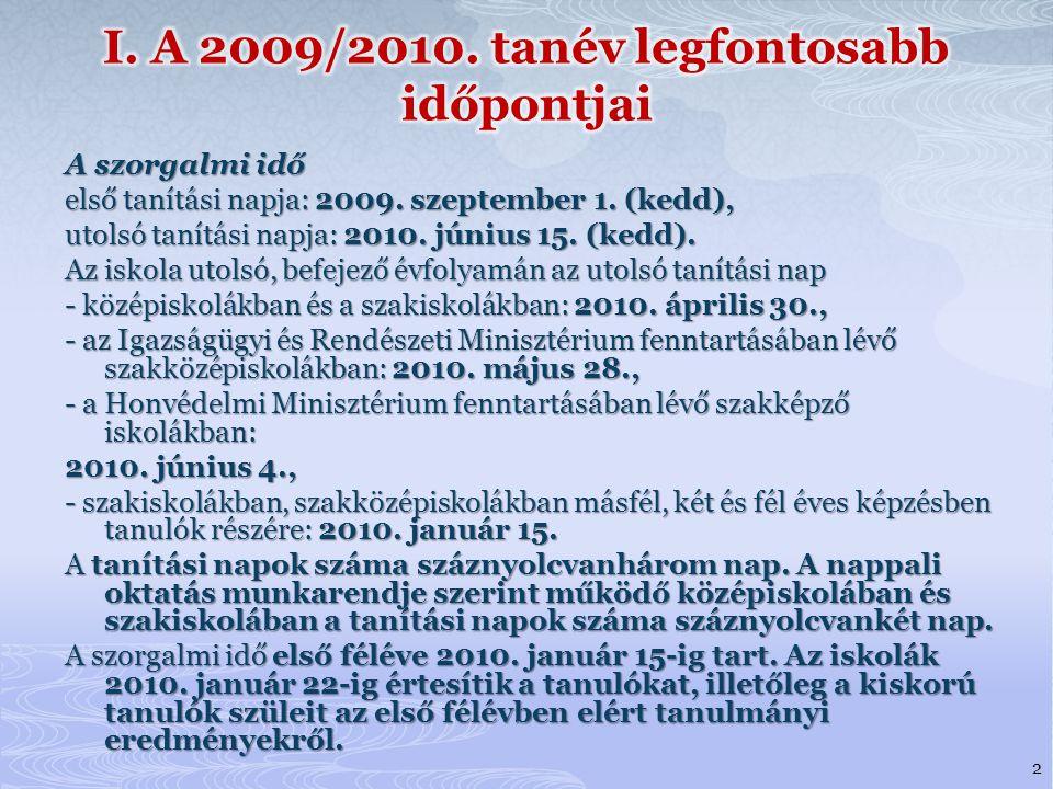 I. A 2009/2010. tanév legfontosabb időpontjai
