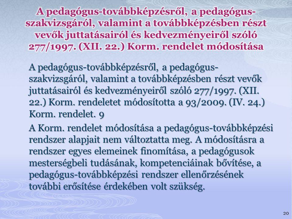 A pedagógus-továbbképzésről, a pedagógus-szakvizsgáról, valamint a továbbképzésben részt vevők juttatásairól és kedvezményeiről szóló 277/1997. (XII. 22.) Korm. rendelet módosítása