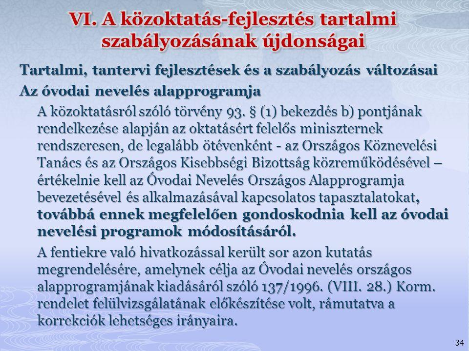 VI. A közoktatás-fejlesztés tartalmi szabályozásának újdonságai