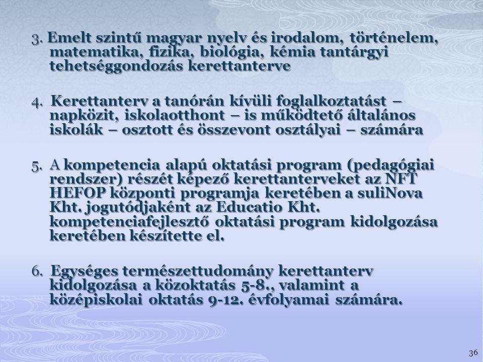 3. Emelt szintű magyar nyelv és irodalom, történelem, matematika, fizika, biológia, kémia tantárgyi tehetséggondozás kerettanterve