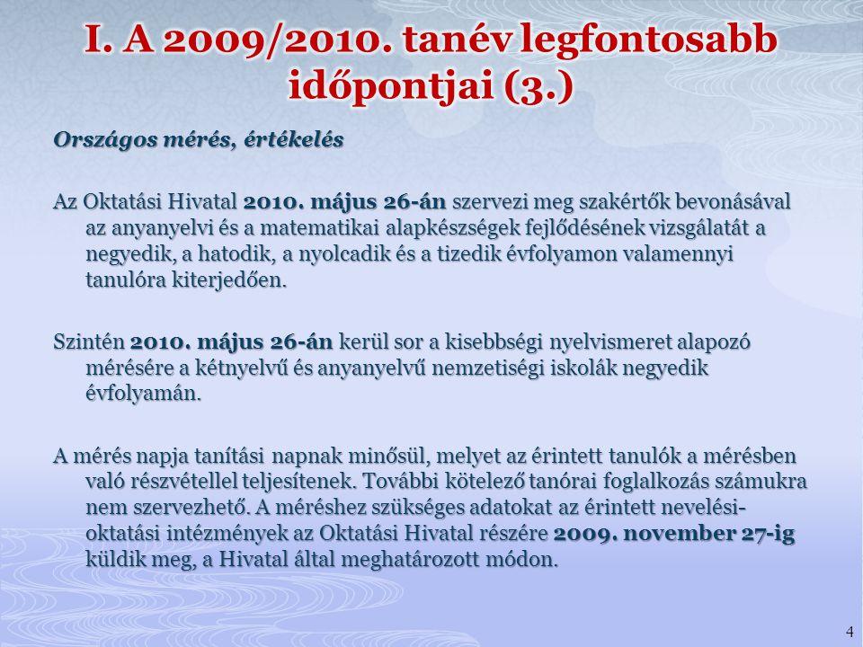 I. A 2009/2010. tanév legfontosabb időpontjai (3.)