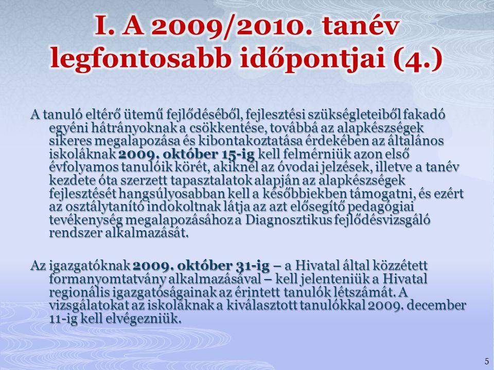 I. A 2009/2010. tanév legfontosabb időpontjai (4.)