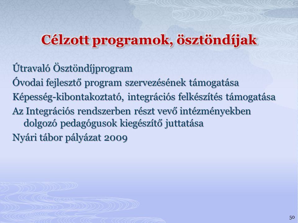 Célzott programok, ösztöndíjak