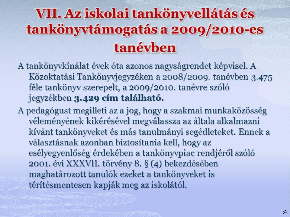 VII. Az iskolai tankönyvellátás és tankönyvtámogatás a 2009/2010-es tanévben
