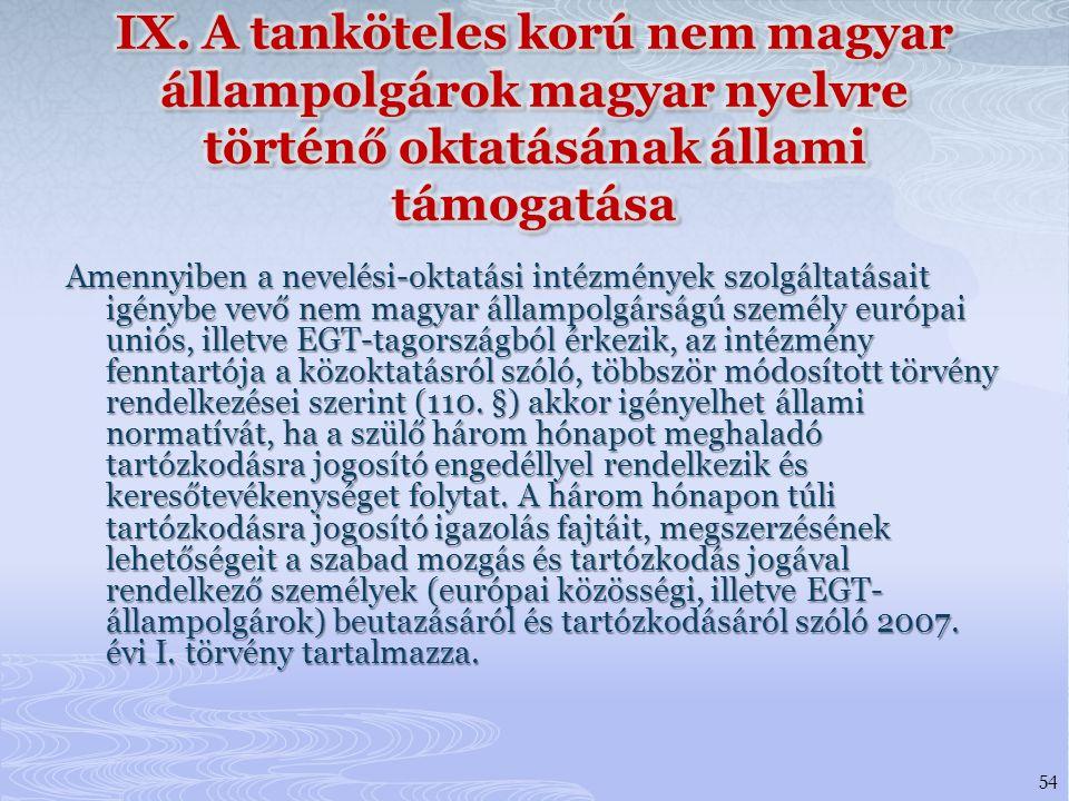 IX. A tanköteles korú nem magyar állampolgárok magyar nyelvre történő oktatásának állami támogatása