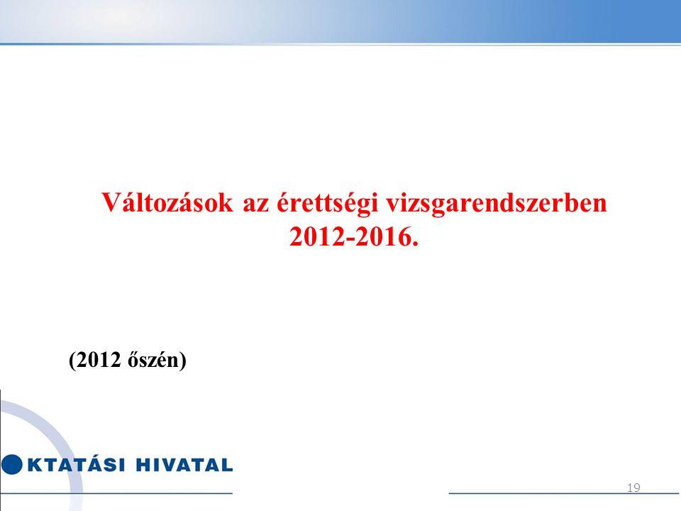 Változások az érettségi vizsgarendszerben 2012-2016.