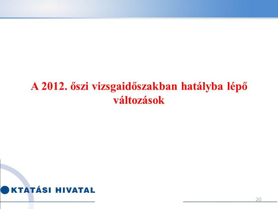 A 2012. őszi vizsgaidőszakban hatályba lépő változások