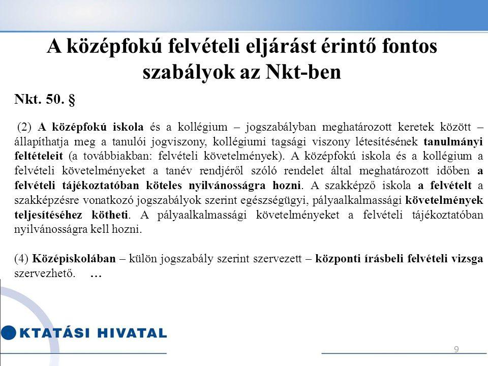 A középfokú felvételi eljárást érintő fontos szabályok az Nkt-ben