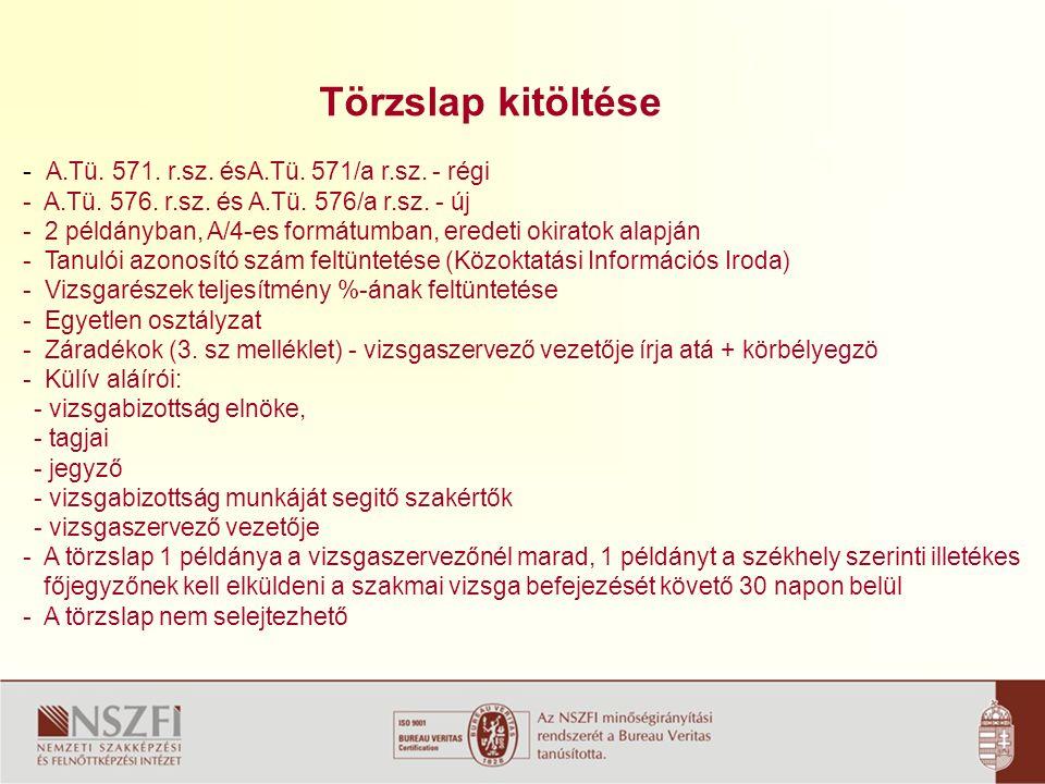 Törzslap kitöltése - A.Tü. 571. r.sz. ésA.Tü. 571/a r.sz. - régi
