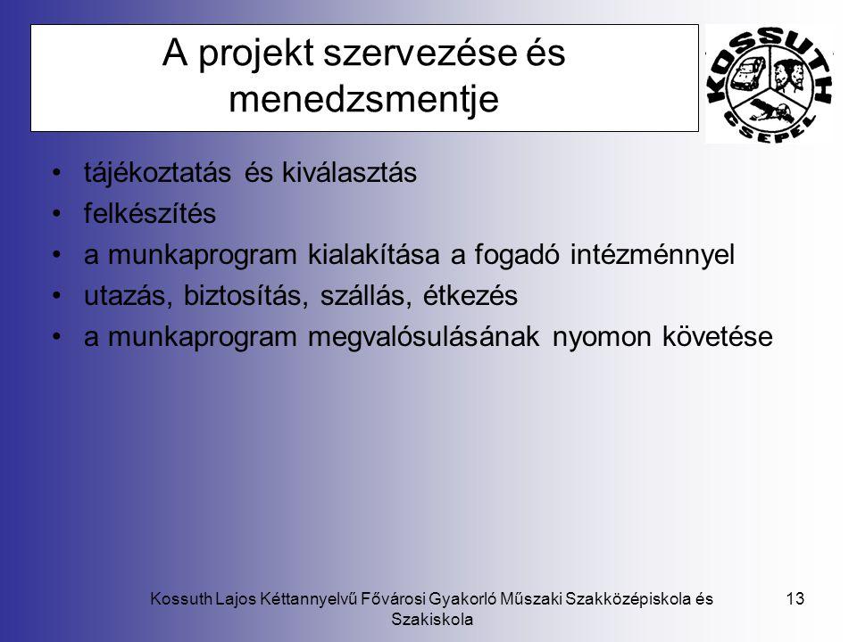 A projekt szervezése és menedzsmentje