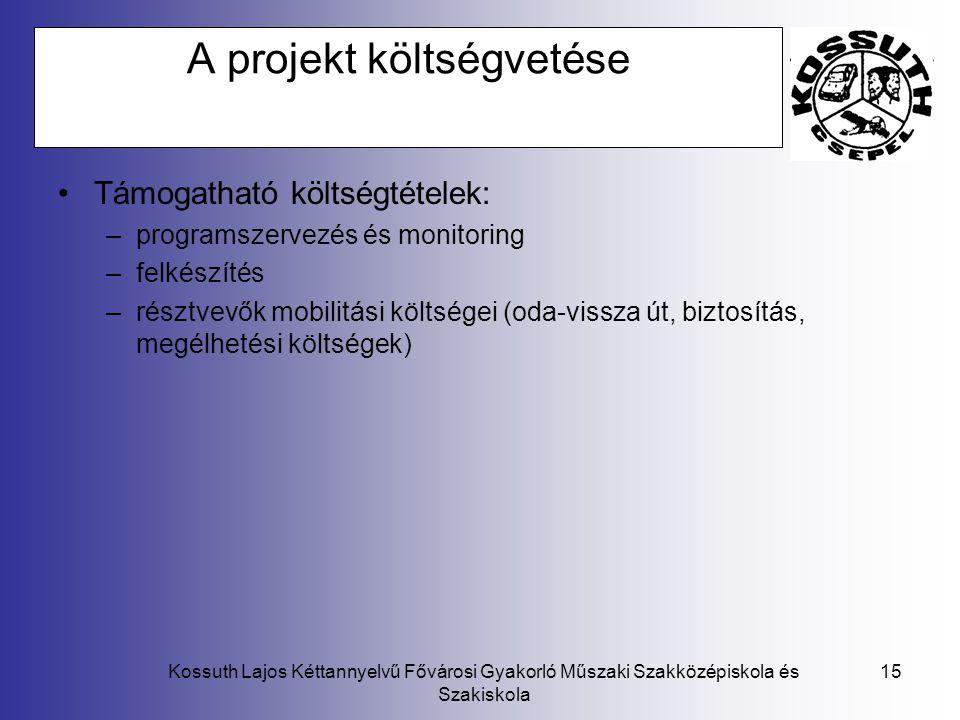 A projekt költségvetése
