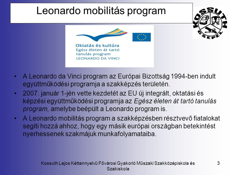 Leonardo mobilitás program