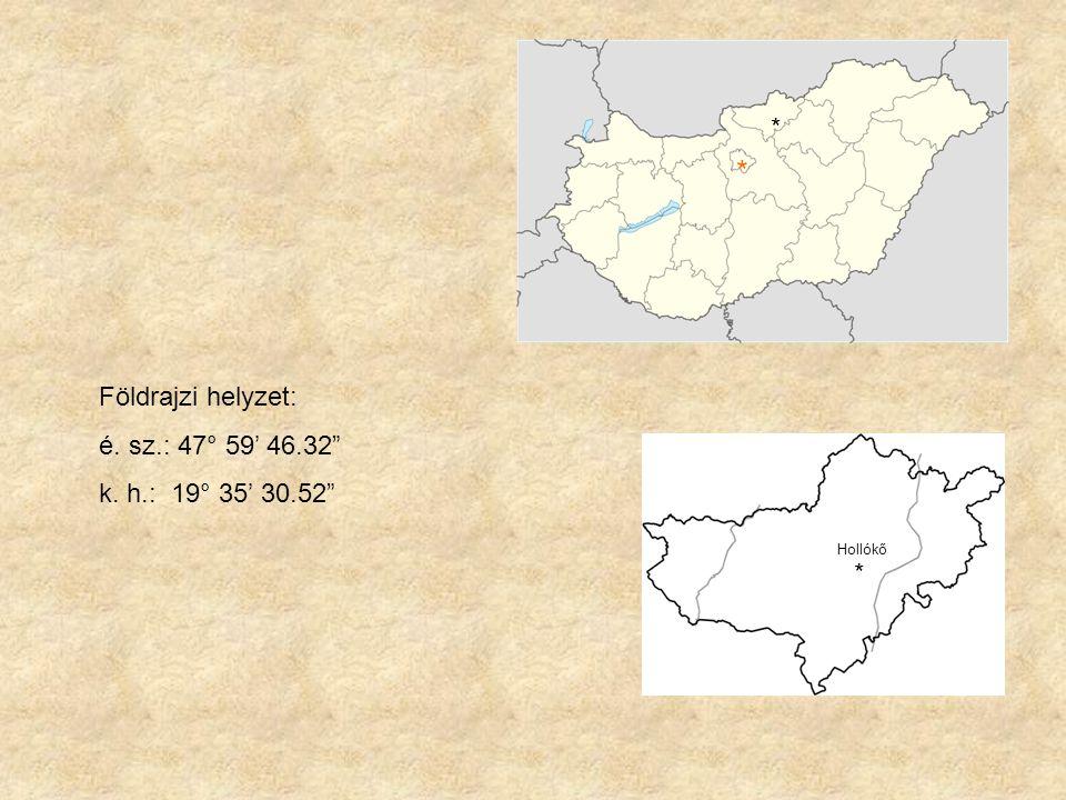 * * Földrajzi helyzet: é. sz.: 47° 59' 46.32 k. h.: 19° 35' 30.52 *