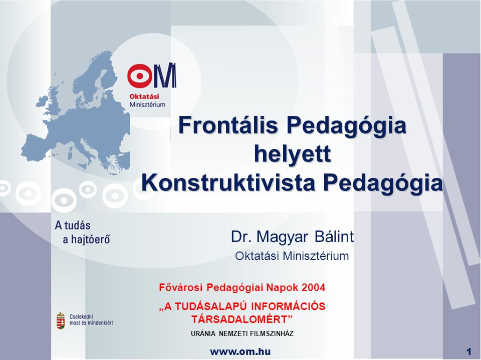 Frontális Pedagógia helyett Konstruktivista Pedagógia
