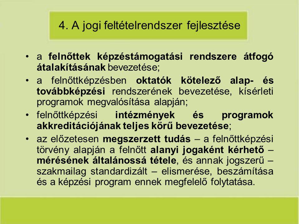 4. A jogi feltételrendszer fejlesztése