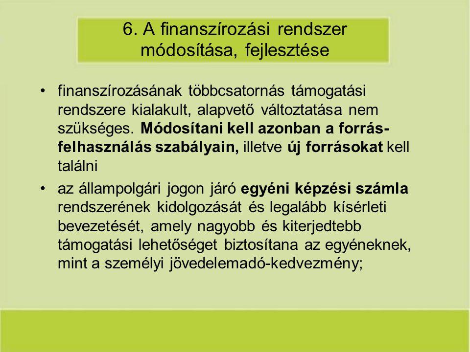 6. A finanszírozási rendszer módosítása, fejlesztése