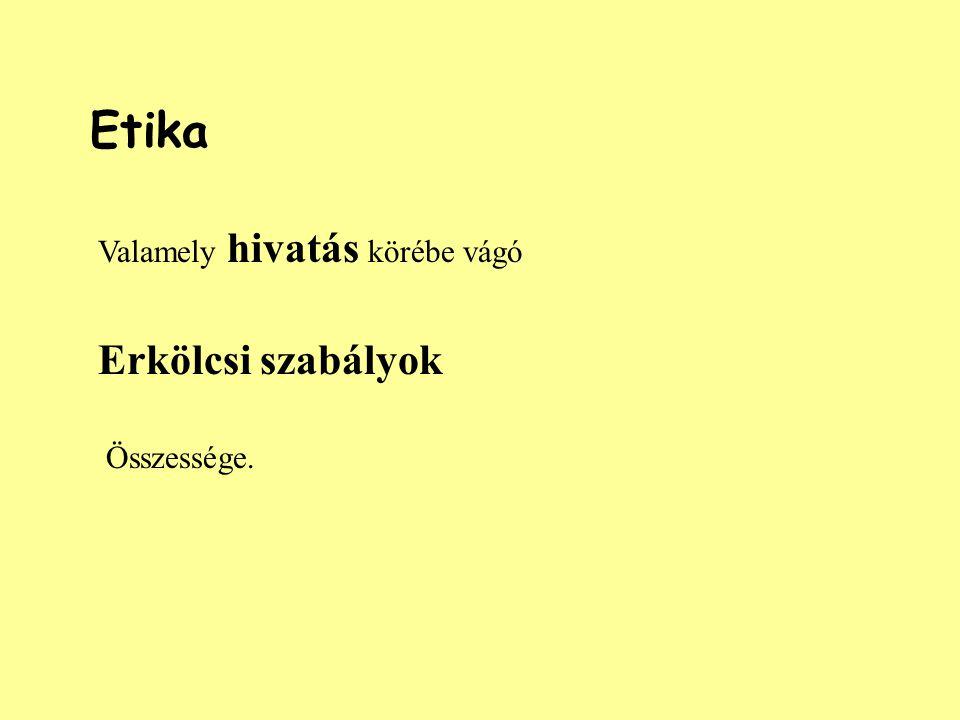 Etika Valamely hivatás körébe vágó Erkölcsi szabályok Összessége.