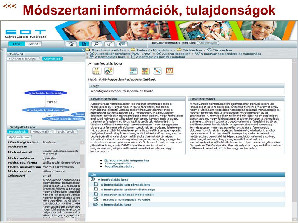 Módszertani információk, tulajdonságok