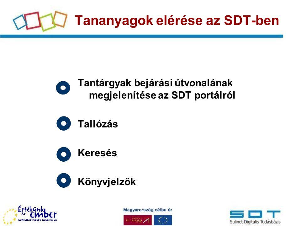 Tananyagok elérése az SDT-ben
