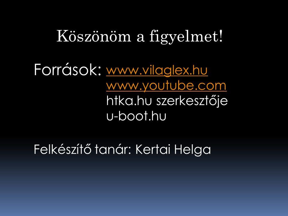 Köszönöm a figyelmet! Források: www.vilaglex.hu www.youtube.com