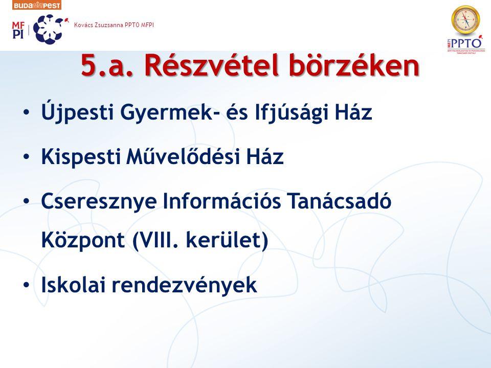 5.a. Részvétel börzéken Újpesti Gyermek- és Ifjúsági Ház