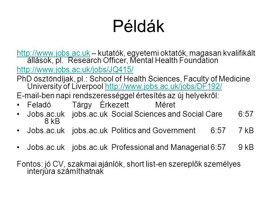Példák http://www.jobs.ac.uk – kutatók, egyetemi oktatók, magasan kvalifikált állások, pl. Research Officer, Mental Health Foundation.