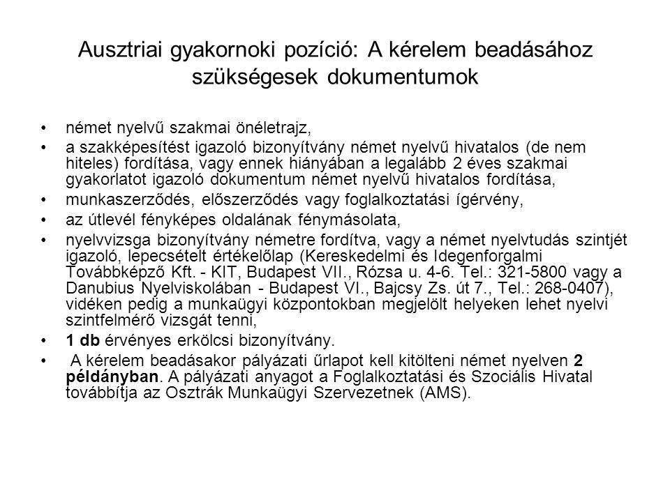 Ausztriai gyakornoki pozíció: A kérelem beadásához szükségesek dokumentumok