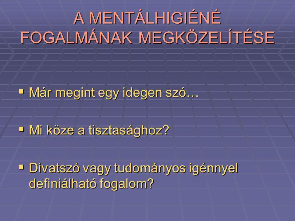 A MENTÁLHIGIÉNÉ FOGALMÁNAK MEGKÖZELÍTÉSE