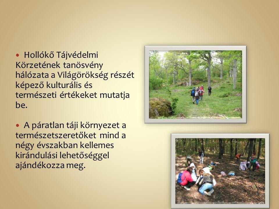 Hollókő Tájvédelmi Körzetének tanösvény hálózata a Világörökség részét képező kulturális és természeti értékeket mutatja be.