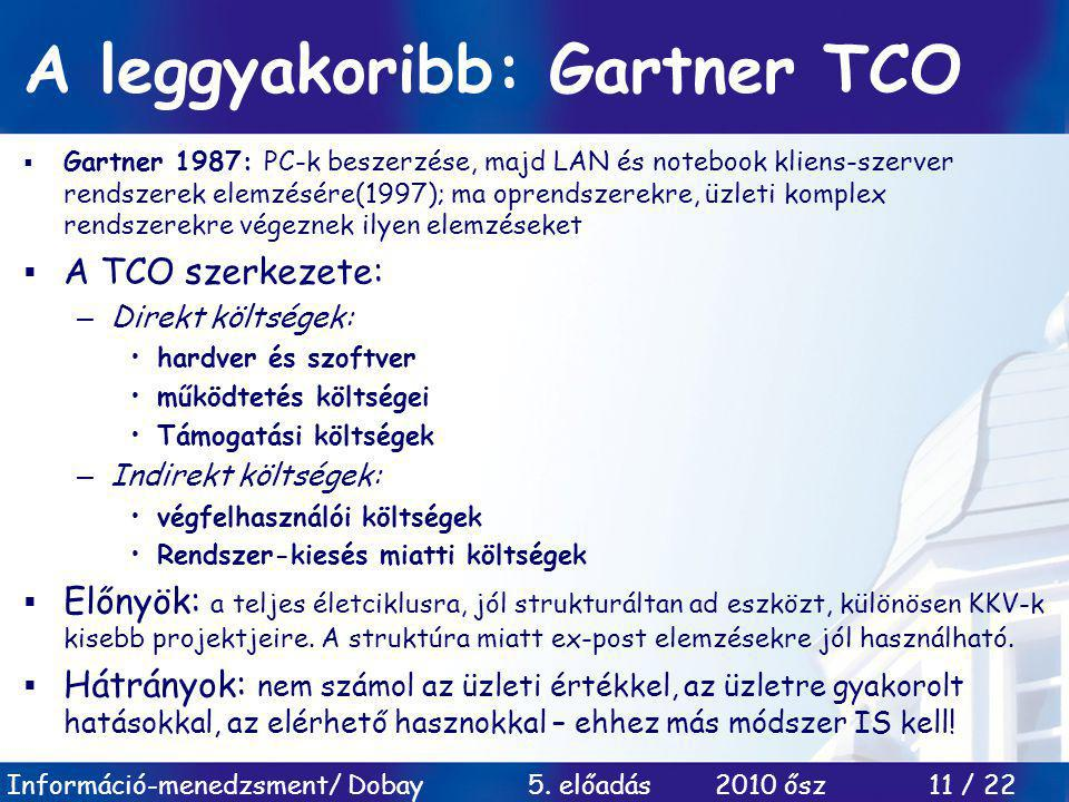A leggyakoribb: Gartner TCO
