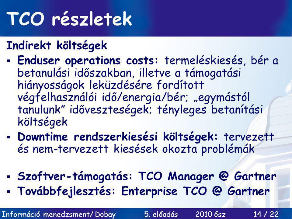 TCO részletek Indirekt költségek