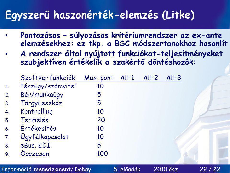 Egyszerű haszonérték-elemzés (Litke)