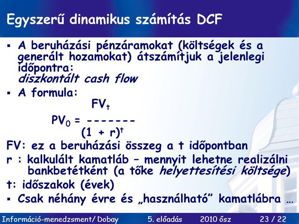 Egyszerű dinamikus számítás DCF
