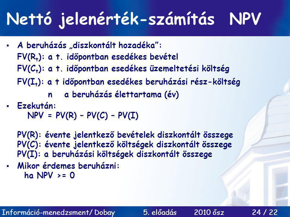 Nettó jelenérték-számítás NPV