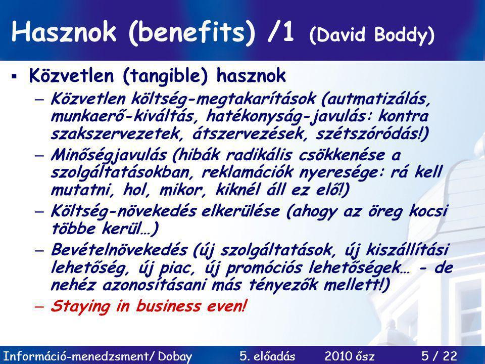 Hasznok (benefits) /1 (David Boddy)