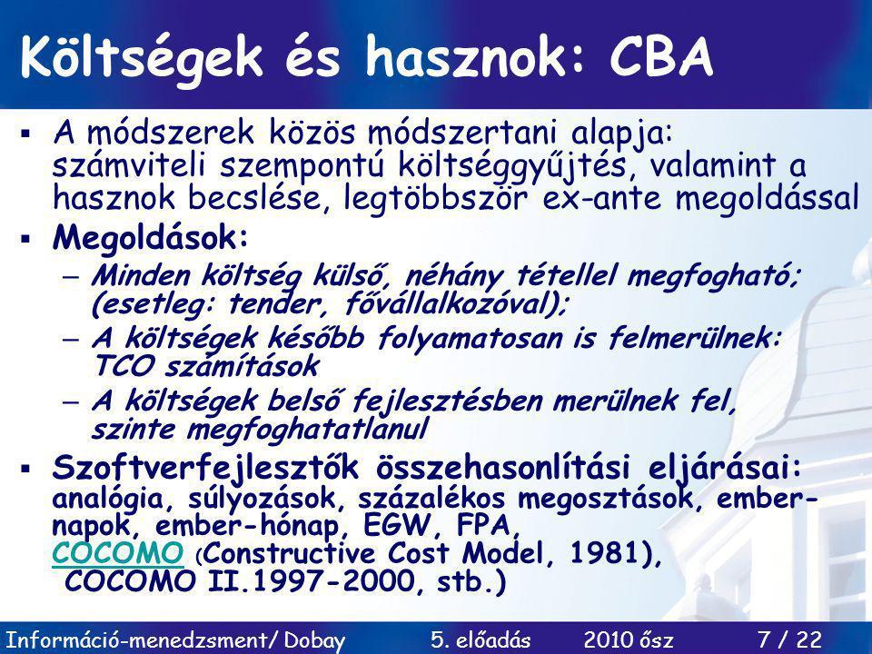 Költségek és hasznok: CBA