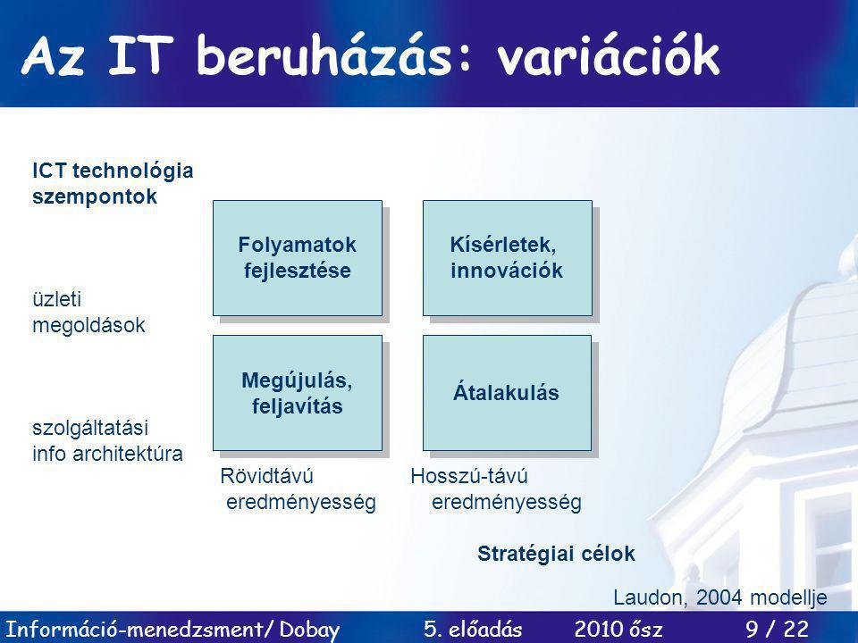 Az IT beruházás: variációk