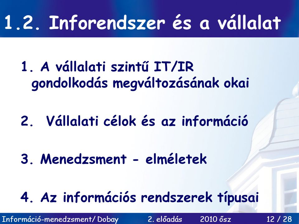 1.2. Inforendszer és a vállalat