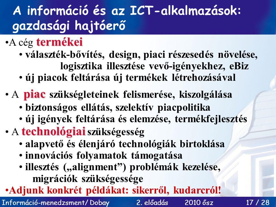 A információ és az ICT-alkalmazások: gazdasági hajtóerő