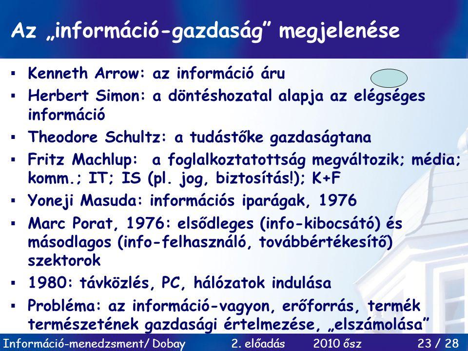 """Az """"információ-gazdaság megjelenése"""