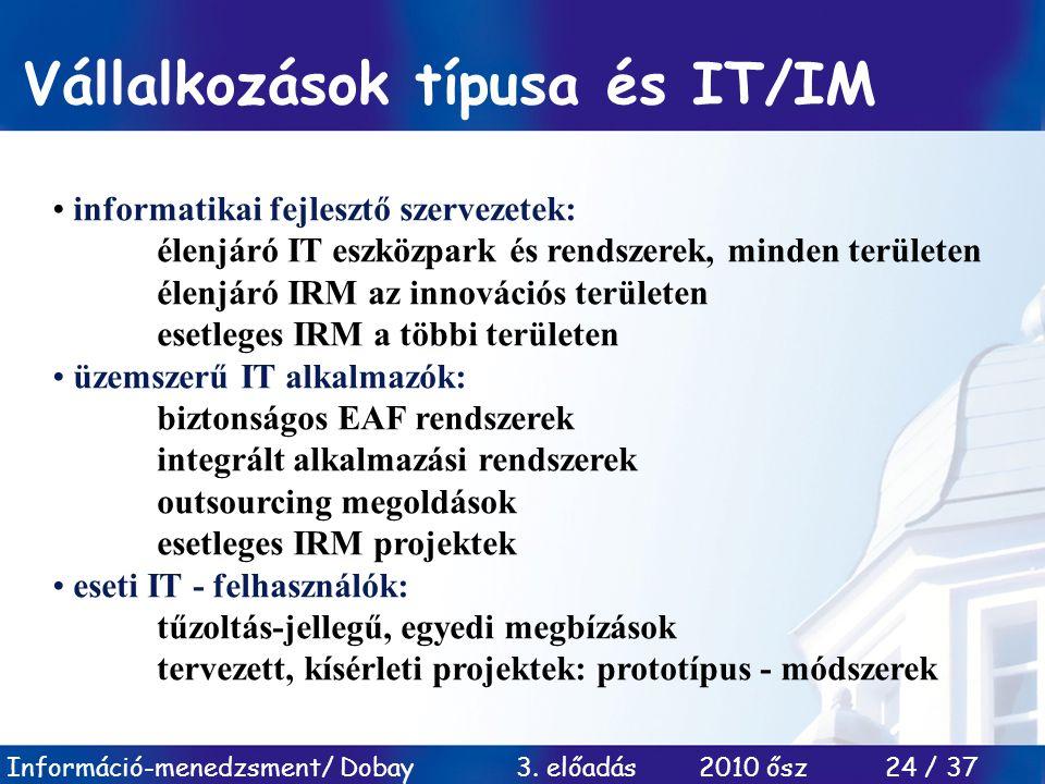 Vállalkozások típusa és IT/IM
