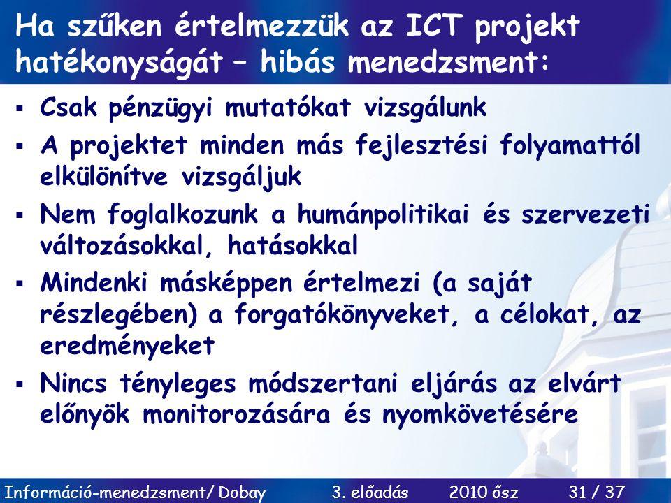 Ha szűken értelmezzük az ICT projekt hatékonyságát – hibás menedzsment: