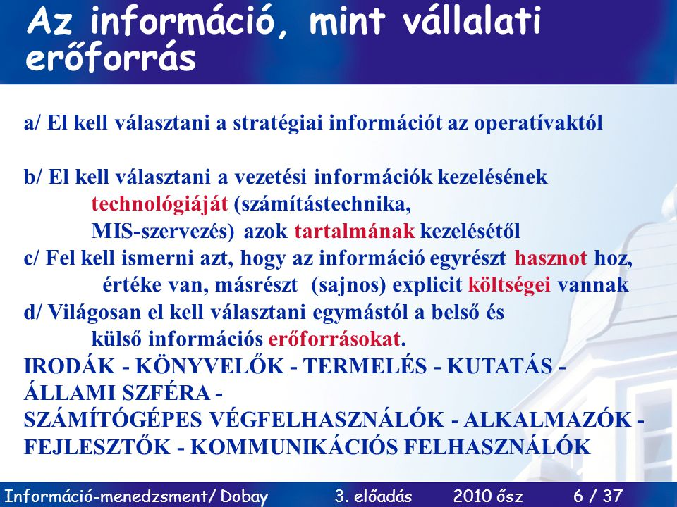 Az információ, mint vállalati erőforrás