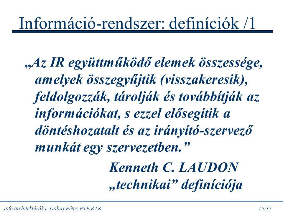 Információ-rendszer: definíciók /1