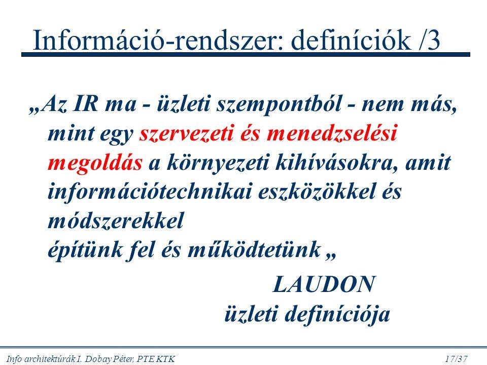 Információ-rendszer: definíciók /3
