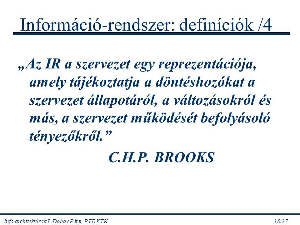 Információ-rendszer: definíciók /4