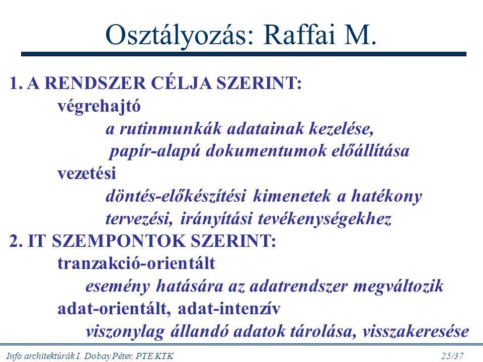 Osztályozás: Raffai M. 1. A RENDSZER CÉLJA SZERINT: végrehajtó