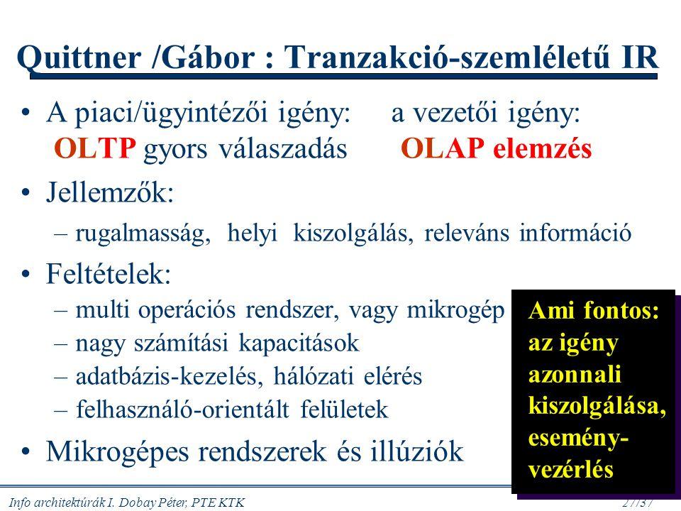 Quittner /Gábor : Tranzakció-szemléletű IR